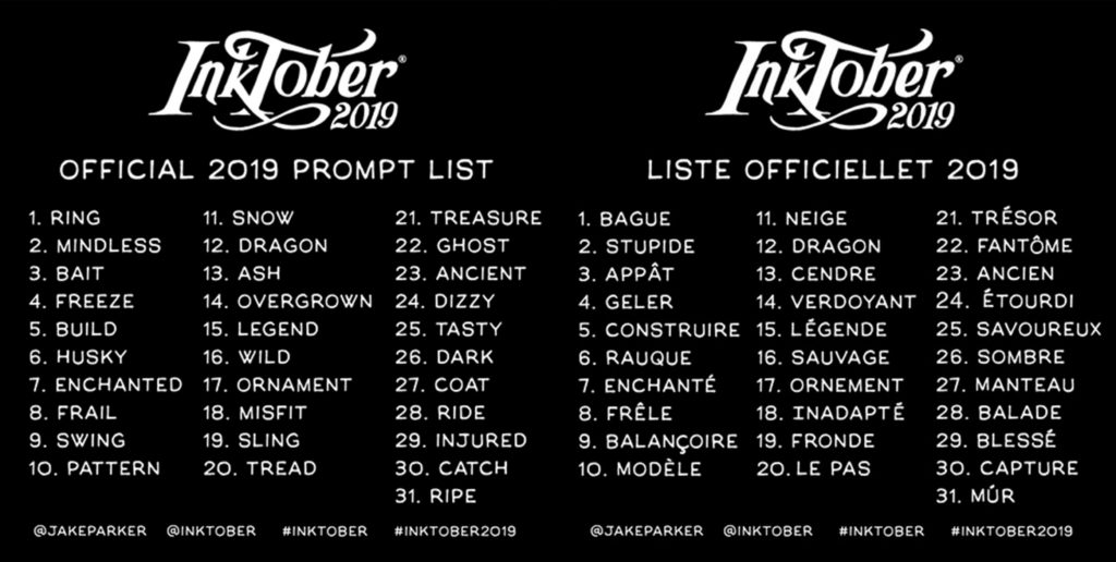 inktober 2019 prompt liste french transltate