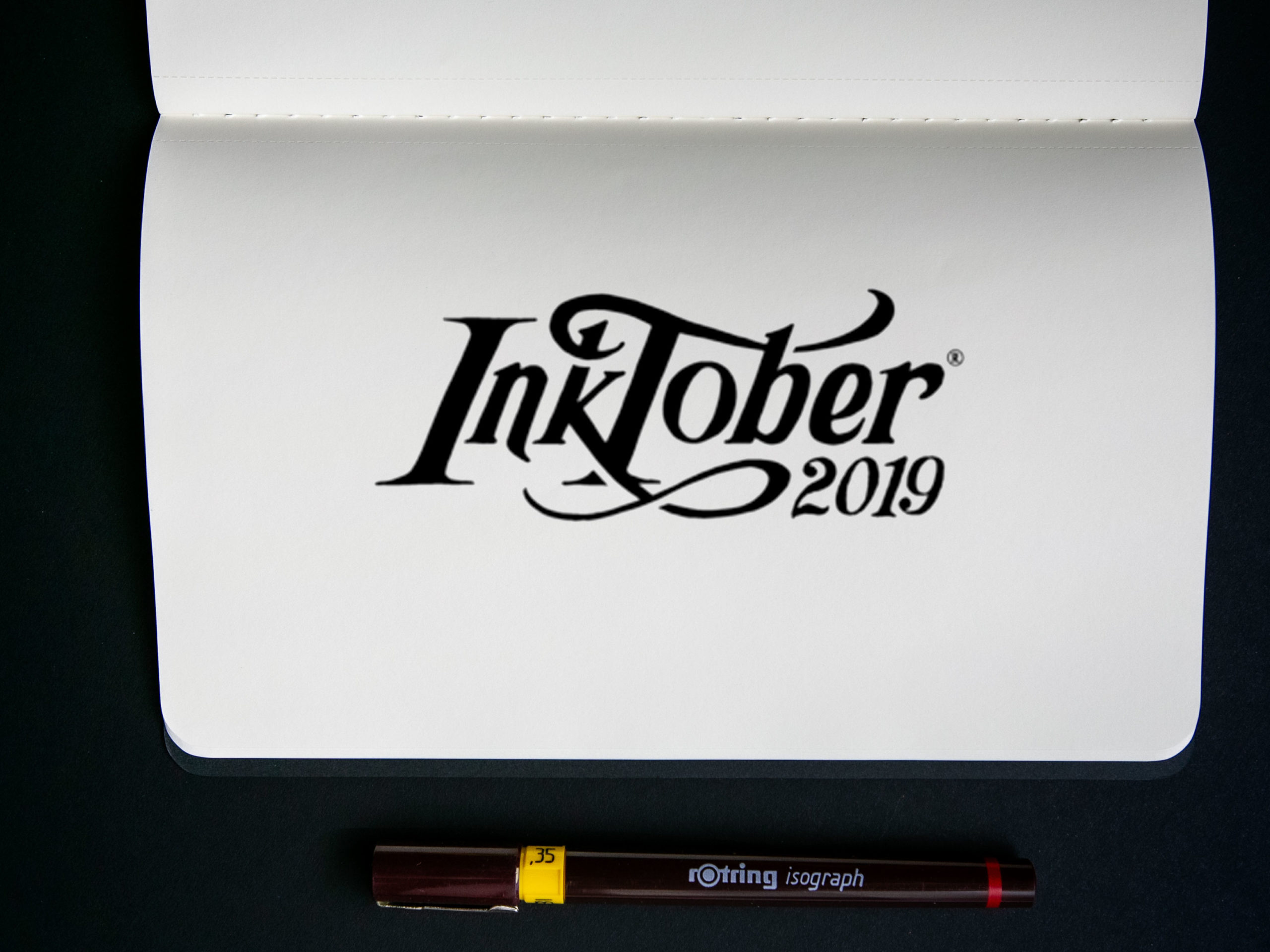 inktober 2019 black and white handlettering