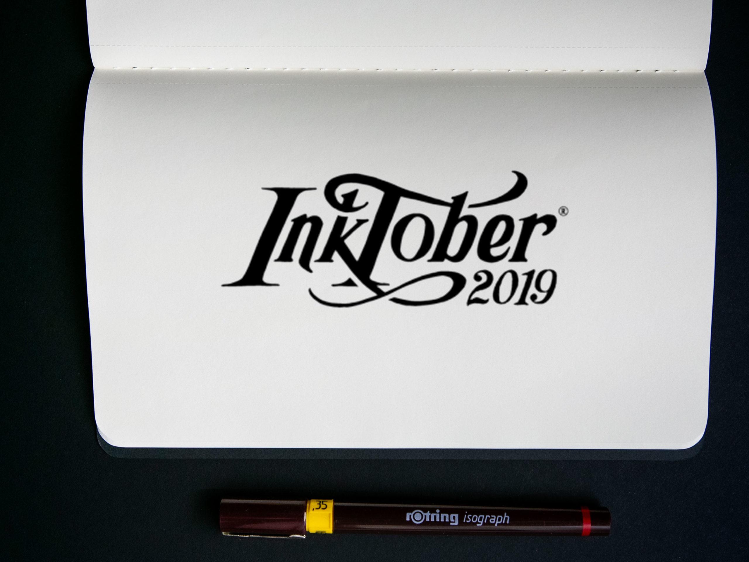 inktober 2019 black and white handlettering